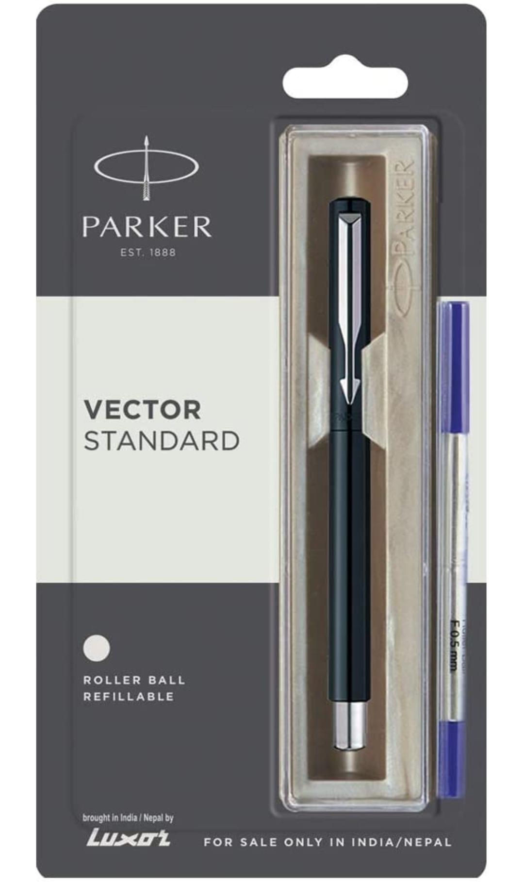 Parker Vector Standard Chrome Trim Roller Ball Pen (Pack of 1) Black Body
