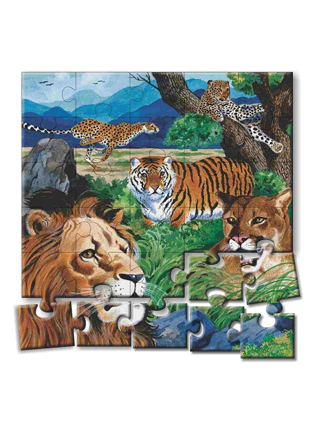 Creatives Animal Puzzles No.6 Multi Colour Jigsaw Puzzles 4 Puzzles  With Poster to Colour
