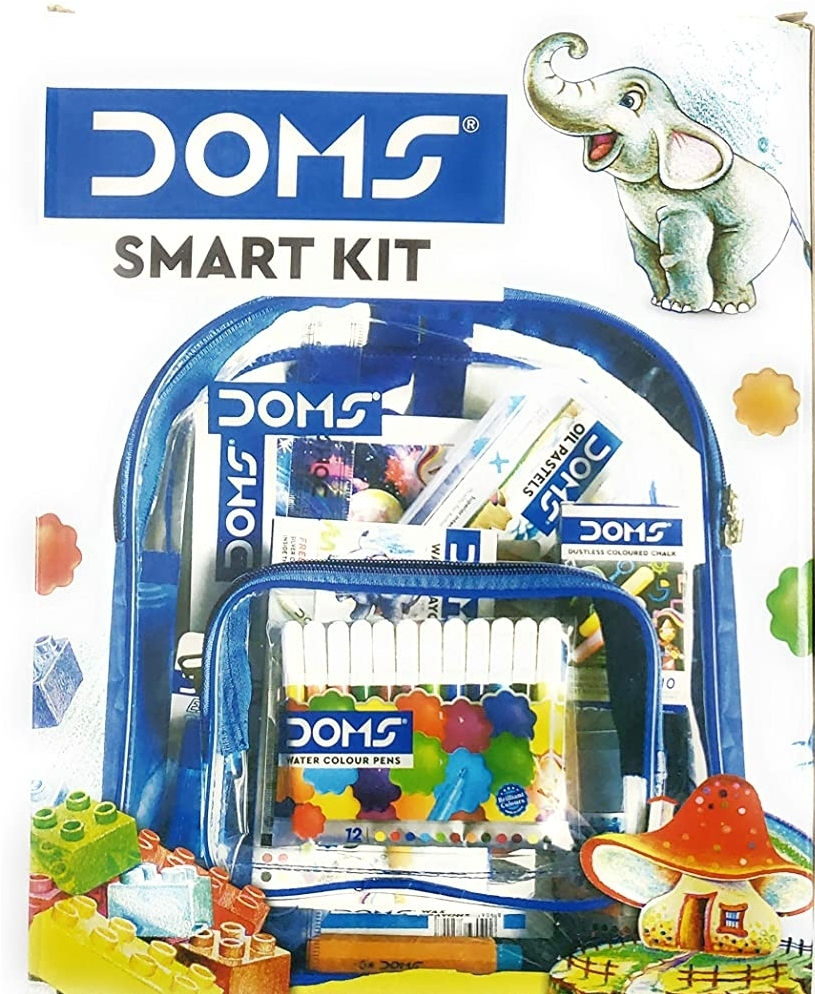 Doms Smart Stationery Kit 12 Pcs Kit With Transparent Zipper Bag
